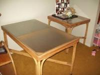 Bamboo dinning room set. Includes two tables ten chairs