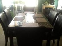 Dinning room table 6 chairs soft leather dark brown