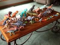 One lot of Dino's with trees, rocks, and volcanos all