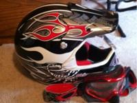 Barely used dirt bike/4 wheeler helmet w/matching Okley