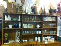 WE HAVE A NICE SELECTION OF DISHES, HOUSEHOLD ITEMS,