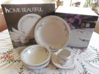 Home Beautiful Dishes Lavender iris pattern 8 pc. set