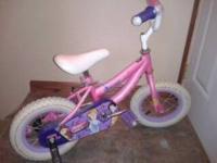 Disney Girls Pink/Purple Princess Bike with training
