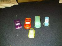 "5 toy cars from Disney's movie ""Cars"" and two similiar"