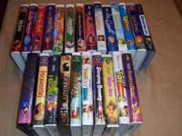 24 Kids VHS tapes, mostly Disney. Tapes and cases all