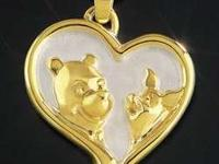 Disney's Winnie the Pooh & Piglet HEART OF GOLD Pendant