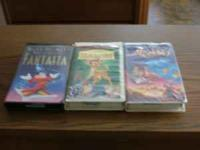 3 vhs disneys movies fantasia bambi aladdin all in