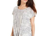 A slouchy DKNY Jeans striped top features a tie at the