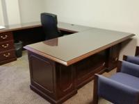 Like new DMI C - shaped executive desk. Mahogany finish