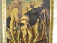 Canines of leisure, signed, Reginald Baxter painting.