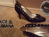 Black Suede pumps by Dolce & Gabbana Size 7.5Matching