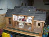 VERY WELL BUILT DOLL HOUSE WITH SOME FURNITURE NEEDS