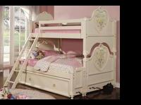 Doll House Cream Wood Kids Twin Full Bunk Bed with