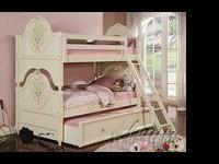 Dollhouse Twin over Twin Bunk Bed in white cream
