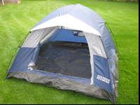 Three person tent is simple and quick to set up. In new