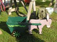 Lawn ornaments for sale. Donkey and Cart, bird houses,