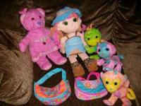 This set includes Pink Bear Backpack, Doodle Doll with