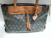 DOONEY & BOURKE Grey w/ Brown Large Handle Tote Bag