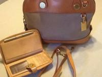 Dooney & Bourke handbag; linen with lt. tan leather