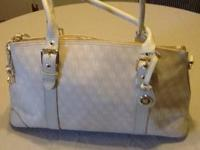 Dooney & Bourke off white linen handbag with leather