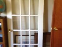 "Wood interior door with 15 glass panes. 32"" x 80"". Two"