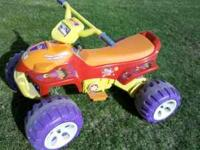 For sale is a used Dora the Explorer kids 4 wheeler. It