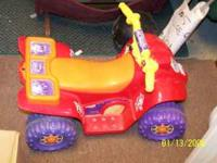 We have a cute dora power wheels 4 wheeler. the