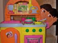 Dora Kitchen w/ play food and extras $25 Excellent
