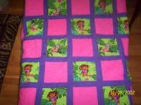 hand made dora quilt very vibrant purple and hot pink