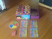 This is a Dora the explorer game box with checkers that