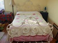 Beautiful cream metal frame double bed and mattress.