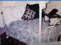 Metal double bed with canopy, curtains, box spring and