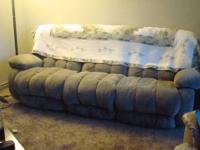 Sage green couch, 2 years old, recliner both ends, no