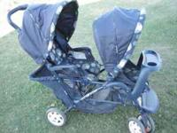 Nice, navy blue, Graco double stroller. call or text