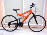 "DOUBLE SUSPENSION MOUNTAIN BICYCLE, 26"", 21 speeds. 18"""