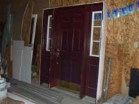 Selling a double-window door and casing. Maroon. Metal