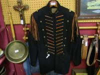 Beautiful wool jacket with leather fringe and crossed