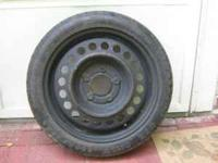 SPARE DOUGHNUT TIRE WITH RIM, T125/70D15, GOOD THREAD,