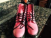 Dr Marten patent leather women's pink boots, size 8.