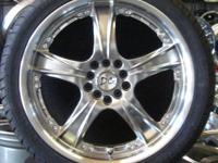 "BRAND NEW SET OF FOUR 18"" CUSTOM RIMS & 18"" TIRES,"