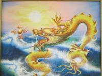 Framed picture of a dragon. This Asian style dragon is