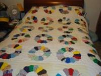 Dresden Quilt queen size. hand stitched. sold as is.