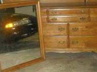 7 Drawer oak finish wooden Dresser with Mirror asking