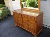 VERY NICE HARD ROCK MAPLE DRESSER WITH MIRROR. IN