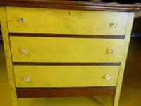 Beautiful refinished three drawer oak dresser. Chaulk