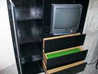 Black 3 drawer dresser/TV stand. call . Location: West