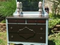 Beautiful Vintage Dresser Done in Pale Blue and Stained