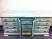 Green/Brown Distressed Glazed Dresser-Opens to 12 Draws