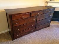 "Dresser is 21""W x 42""T x 84""L. Solid American Black"