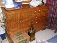 "VERY NICE, SOLID WOOD DRESSER 60"" WIDE 38 1/2"" TALL AND"